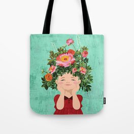 Spring Flower Girl Tote Bag