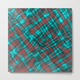 Bright metal mesh with light blue intersecting diagonal lines. Metal Print