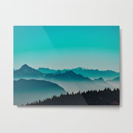 Rise above the mist. Turquoise Metal Print