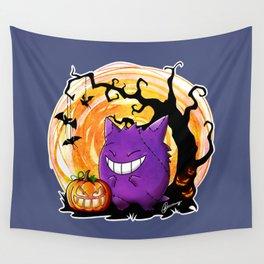 Happy Halloween Gengar Wall Tapestry