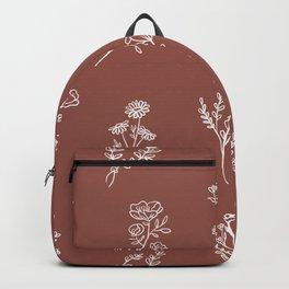 Botanical Wildflowers Line Art Backpack