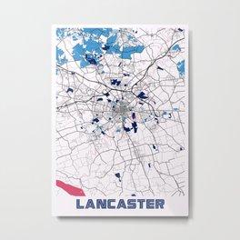 Lancaster - United States MilkTea City Map Metal Print