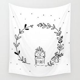 Magical Hedgehog Wreath Wall Tapestry