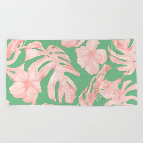 Island Life Seashell Pink + Green Beach Towel