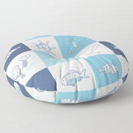 Adorkable Nautical Cartoons Floor Pillow