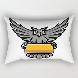 Owl Holding Banner Mascot Rectangular Pillow