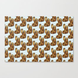 sloth eating pizza pattern Canvas Print