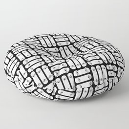 Skateboard Rows Pattern Black and White Floor Pillow
