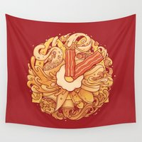 breakfast Wall Tapestries featuring It's Breakfast Time by Enkel Dika