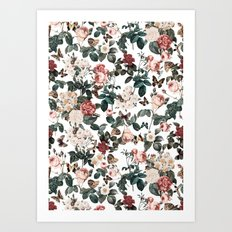Floral and Butterflies II Art Print