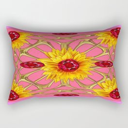 Jeweled Ruby Yellow Sunflowers July Birth Art Rectangular Pillow