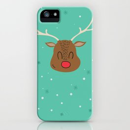 Merry Christmas and a Happy New Year Reindeer Print iPhone Case