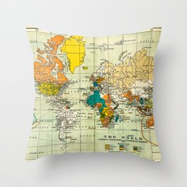 Map of the old world Throw Pillow