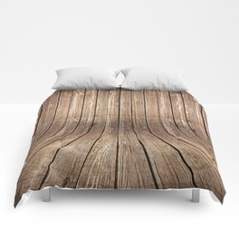 Realistic wood background Comforters