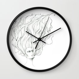 Her Hair in the Air Wall Clock