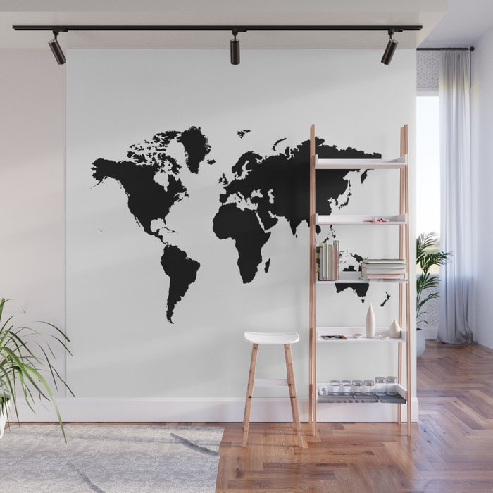 Black And White World Map Wall Mural By Haroulita Society6