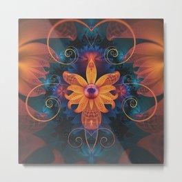Beautiful Orange-Blue Fractal Angel Orchid Flower Metal Print