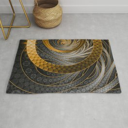 Banded Dragon Scales of Black, Gold, and Yellow Rug