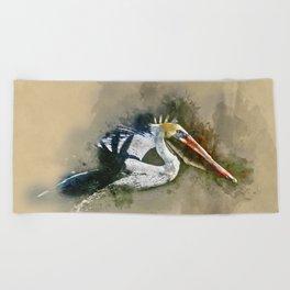 Watercolor Brown Pelican Beach Towel
