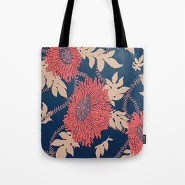 Fictitious Floral Print Tote Bag