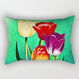 Happy Easter Greetings Tulips #society6 #flowers Rectangular Pillow