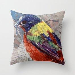 Painted Bunting Bird on Newsprint Throw Pillow