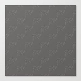 Line Elephant March (Grey) Canvas Print