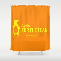 iwatobi Shower Curtains featuring FOR THE TEAM - Hazuki Nagisa by Tsundere in the Sheets