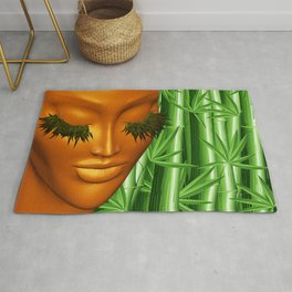 Zen Mother Nature Portrait and Bamboo Rug