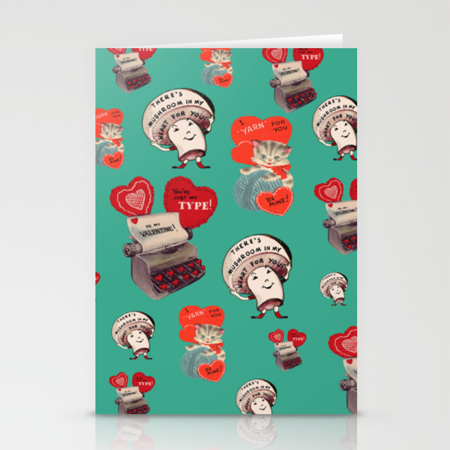 Cheesy Vintage Valentine\u2019s Day Card Pattern on Teal Stationery Cards by  attic_salt