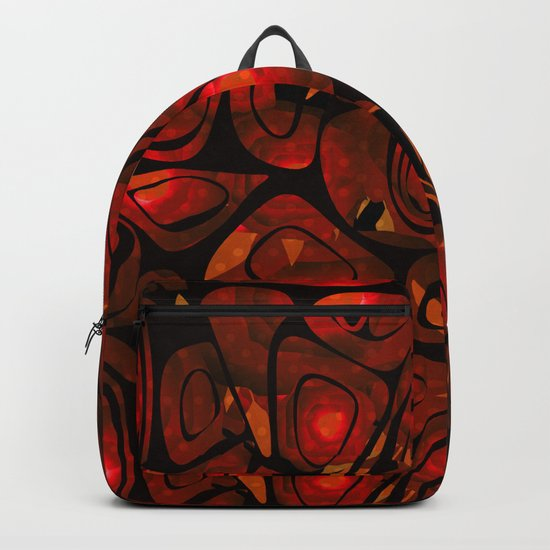 Abstract red black pattern stone texture Backpack