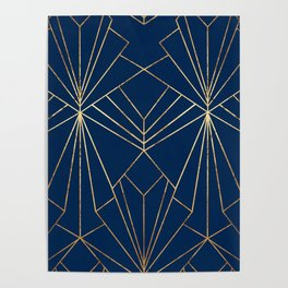 Navy & Gold Art Deco - Large Scale Poster