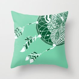Mint Dreamcatcher Throw Pillow