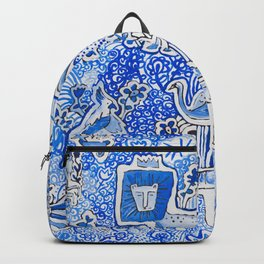 Delft Blue and White Pattern Painting with Lions and Tigers and Birds Backpack