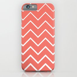 Living Coral and White Zigzag Chevron Pattern iPhone Case