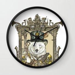Polarbear Warden with Steampunk Frame Wall Clock