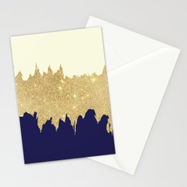 Navy blue ivory faux gold glitter brushstrokes Stationery Cards