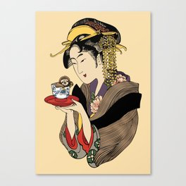 Tea Time with Sloth Canvas Print