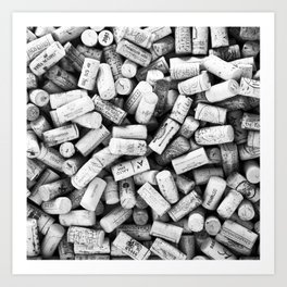 Something Nostalgic II Twist-off Wine Corks in Black And White #decor #society6 #buyart Art Print