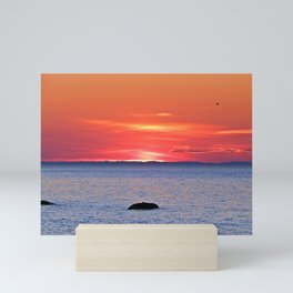 The Rock, The Sea and The Setting Sun Mini Art Print