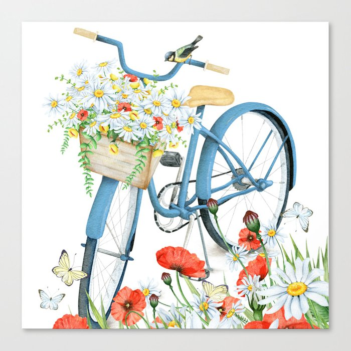 Blue bike & red poppy Canvas Print