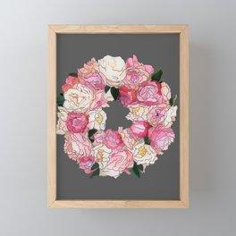 Peony Wreath Painting (dab grey)Feng Shui Framed Mini Art Print