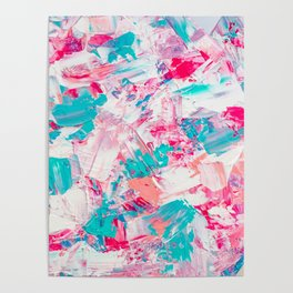 Modern bright candy pink turquoise pastel brushstrokes acrylic paint Poster