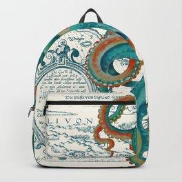 Teal Octopus Vintage Map Watercolor Backpack