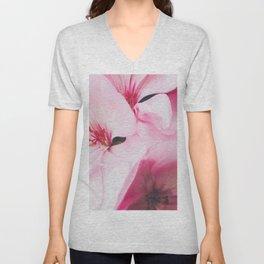 Pastel Pink Petal Flowers Unisex V-Neck
