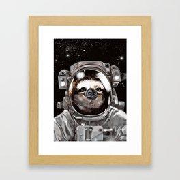 Astronaut Sloth Selfie Framed Art Print