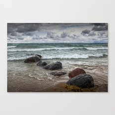 Waves crashing on the shore at Wilderness Park in Sturgeon Bay Lake Michigan Canvas Print