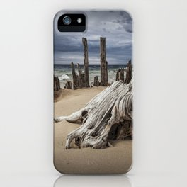 Tree Stump and Pilings on the Beach at Kirk Park by Grand Haven Michigan iPhone Case