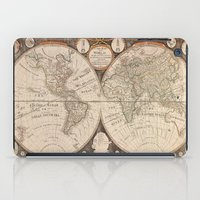map of the world iPad Cases featuring World Map by Le petit Archiviste