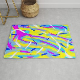 Spice It Up - yellow pink blue abstract painting brushstrokes modern pattern Rug